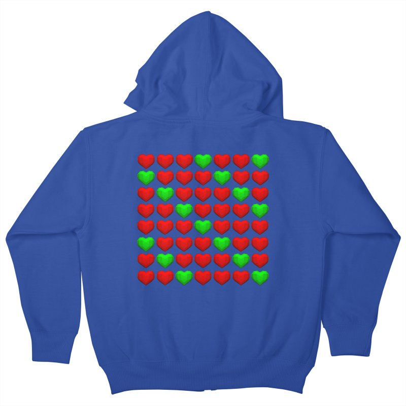 Lowpoly Christmasy Hearts Kids Zip-Up Hoody by Me&My3D
