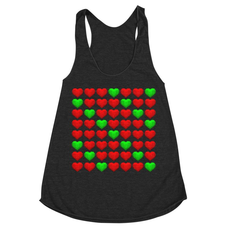 Lowpoly Christmasy Hearts Women's Racerback Triblend Tank by Me&My3D