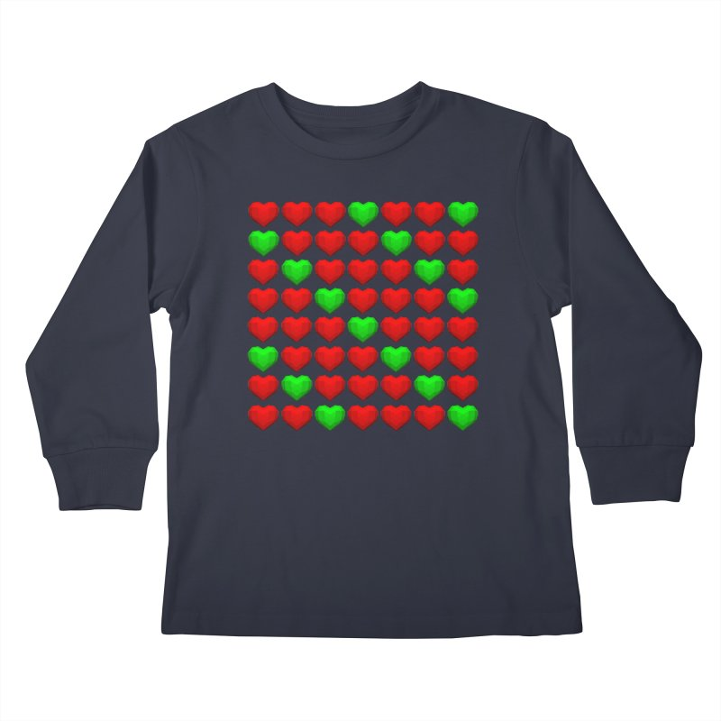 Lowpoly Christmasy Hearts Kids Longsleeve T-Shirt by Me&My3D