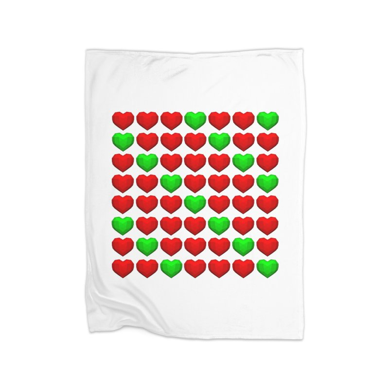 Lowpoly Christmasy Hearts Home Fleece Blanket Blanket by Me&My3D