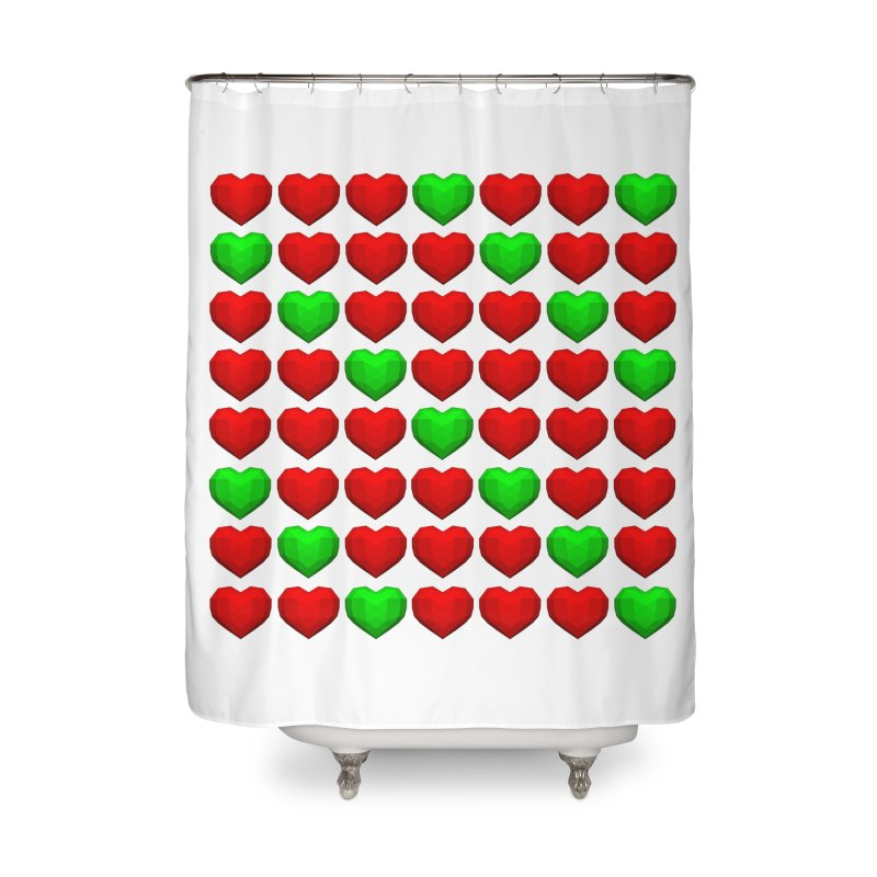 Lowpoly Christmasy Hearts Home Shower Curtain by Me&My3D