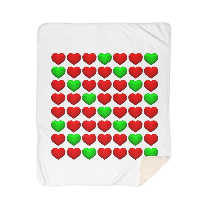 Lowpoly Christmasy Hearts Home Sherpa Blanket Blanket by Me&My3D