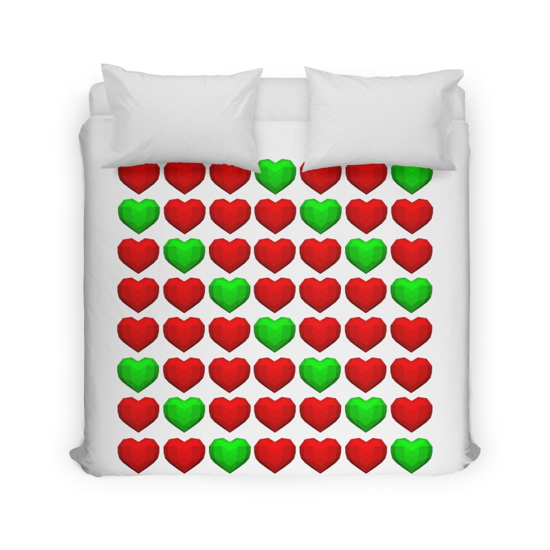 Lowpoly Christmasy Hearts Home Duvet by Me&My3D