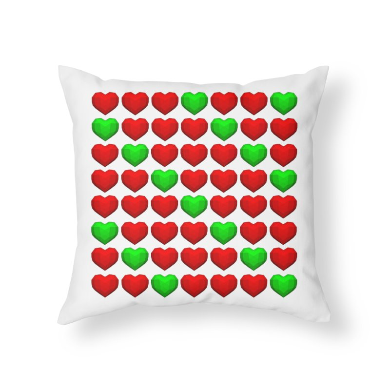 Lowpoly Christmasy Hearts Home Throw Pillow by Me&My3D