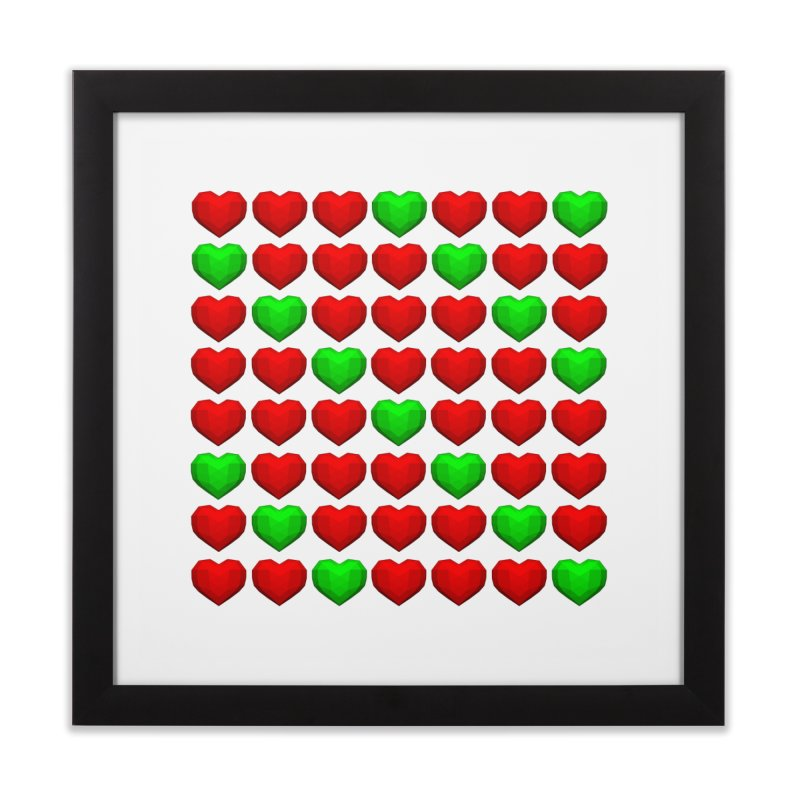 Lowpoly Christmasy Hearts Home Framed Fine Art Print by Me&My3D