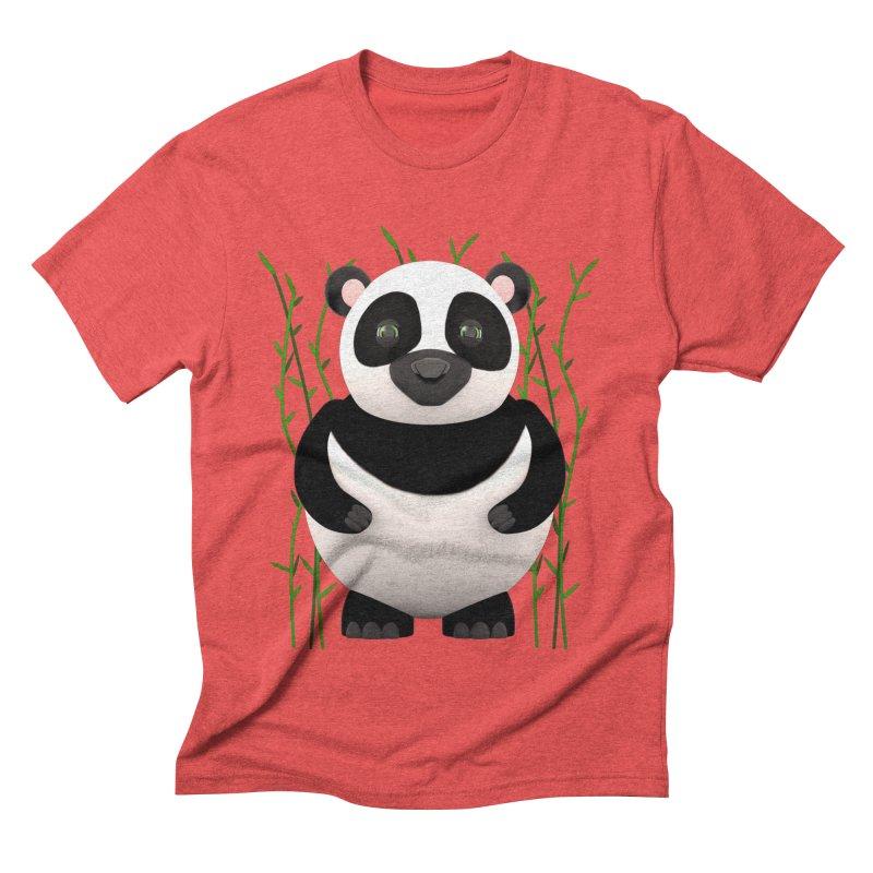 Cartoon Panda Among Bamboos Men's Triblend T-Shirt by Me&My3D