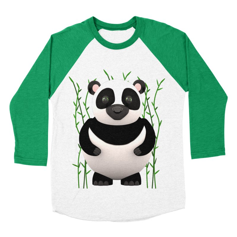 Cartoon Panda Among Bamboos Women's Baseball Triblend Longsleeve T-Shirt by Me&My3D