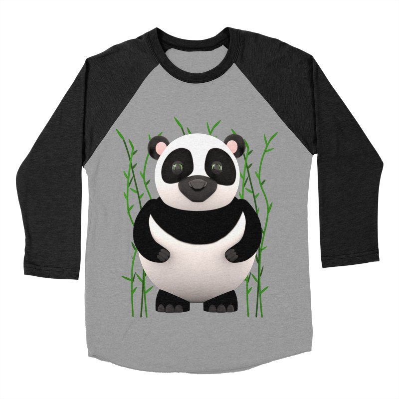 Cartoon Panda Among Bamboos Women's Baseball Triblend Longsleeve T-Shirt by Me&My3D