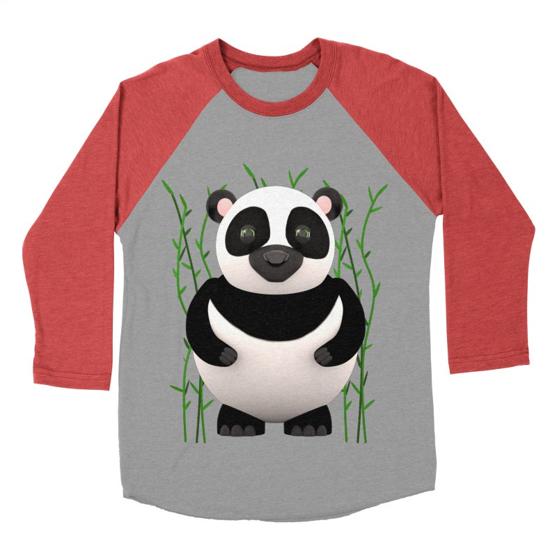 Cartoon Panda Among Bamboos Men's Baseball Triblend Longsleeve T-Shirt by Me&My3D
