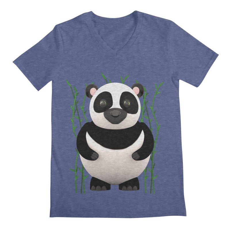 Cartoon Panda Among Bamboos Men's Regular V-Neck by Me&My3D