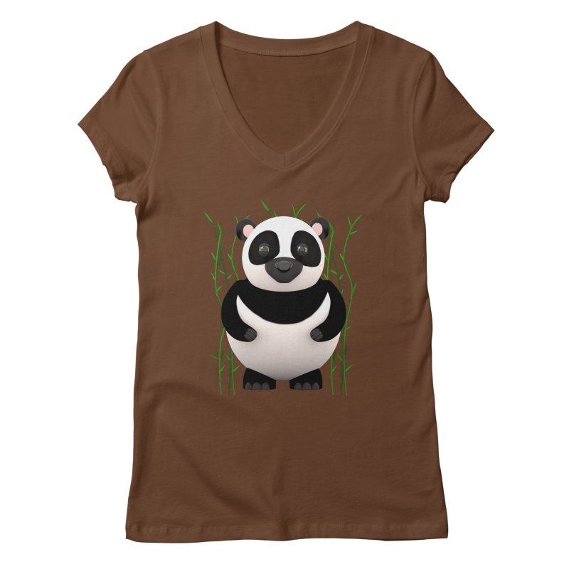 Cartoon Panda Among Bamboos Women's V-Neck by Me&My3D