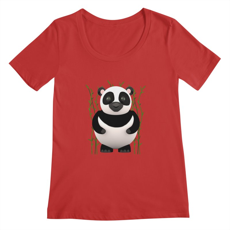 Cartoon Panda Among Bamboos Women's Regular Scoop Neck by Me&My3D
