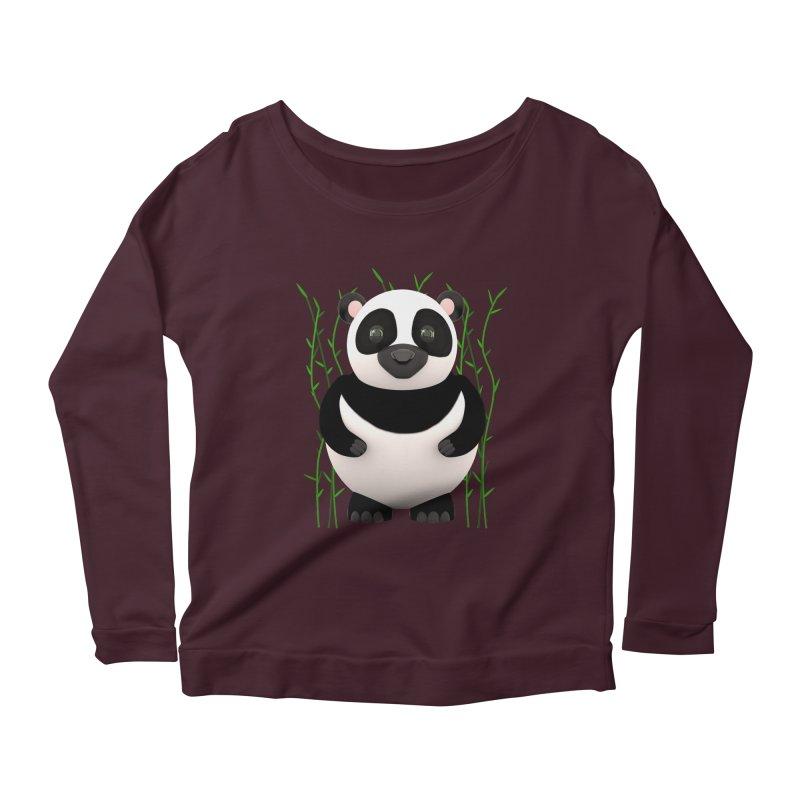 Cartoon Panda Among Bamboos Women's Scoop Neck Longsleeve T-Shirt by Me&My3D