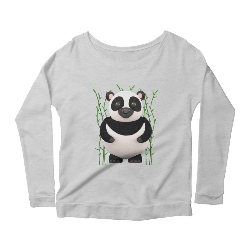 Cartoon Panda Among Bamboos Women's Longsleeve Scoopneck  by Me&My3D