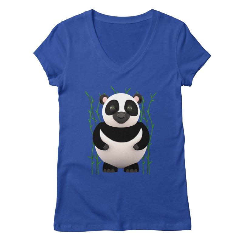 Cartoon Panda Among Bamboos Women's Regular V-Neck by Me&My3D