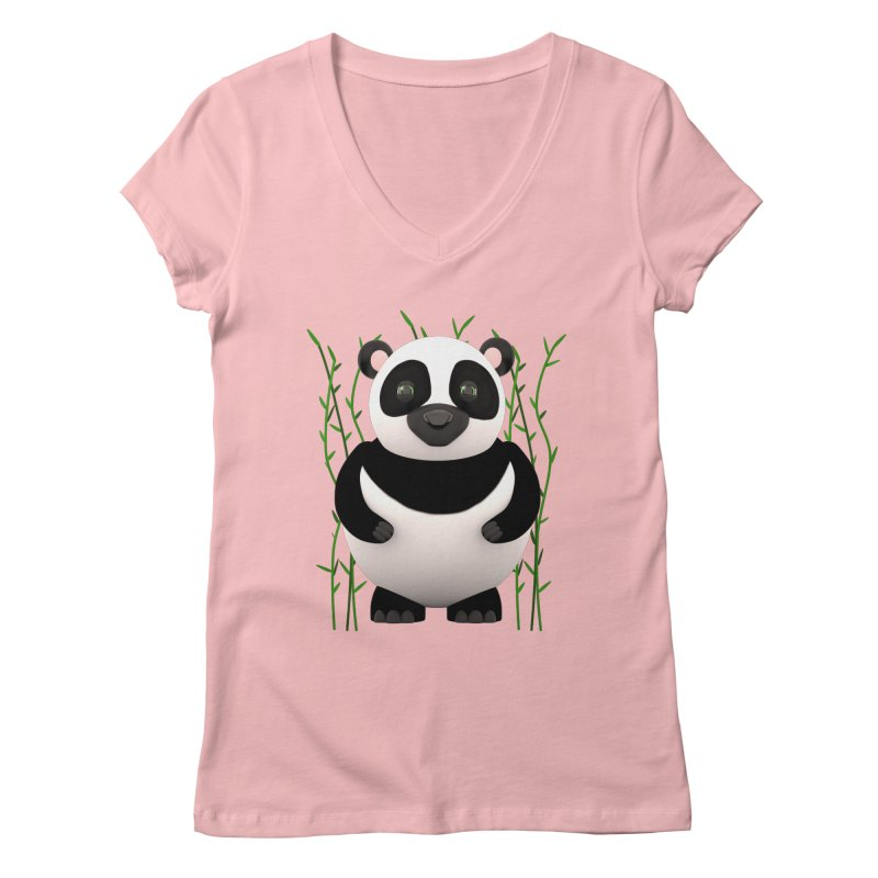 Cartoon Panda Among Bamboos Women's Regular V-Neck by Me&My3D