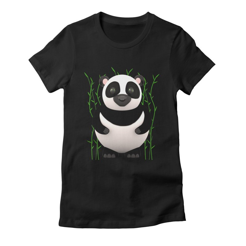 Cartoon Panda Among Bamboos Women's Fitted T-Shirt by Me&My3D