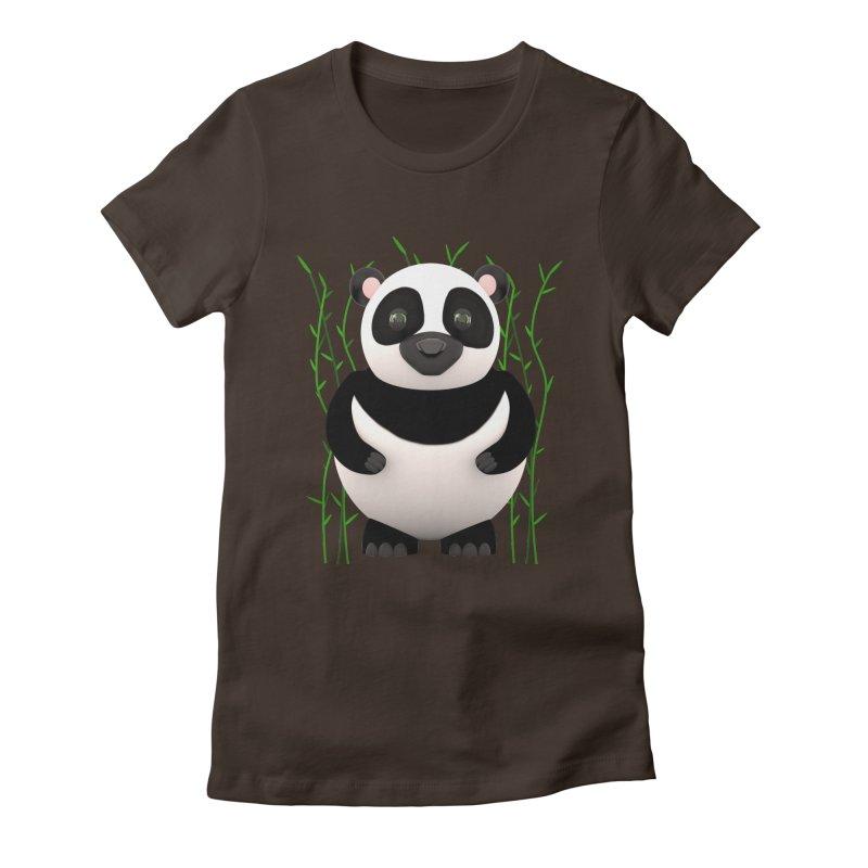 Cartoon Panda Among Bamboos Women's Fitted T-Shirt by Me&My3D