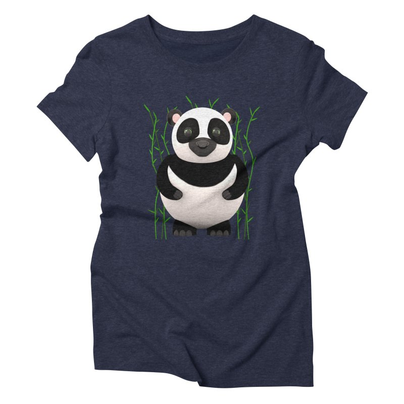 Cartoon Panda Among Bamboos Women's Triblend T-Shirt by Me&My3D
