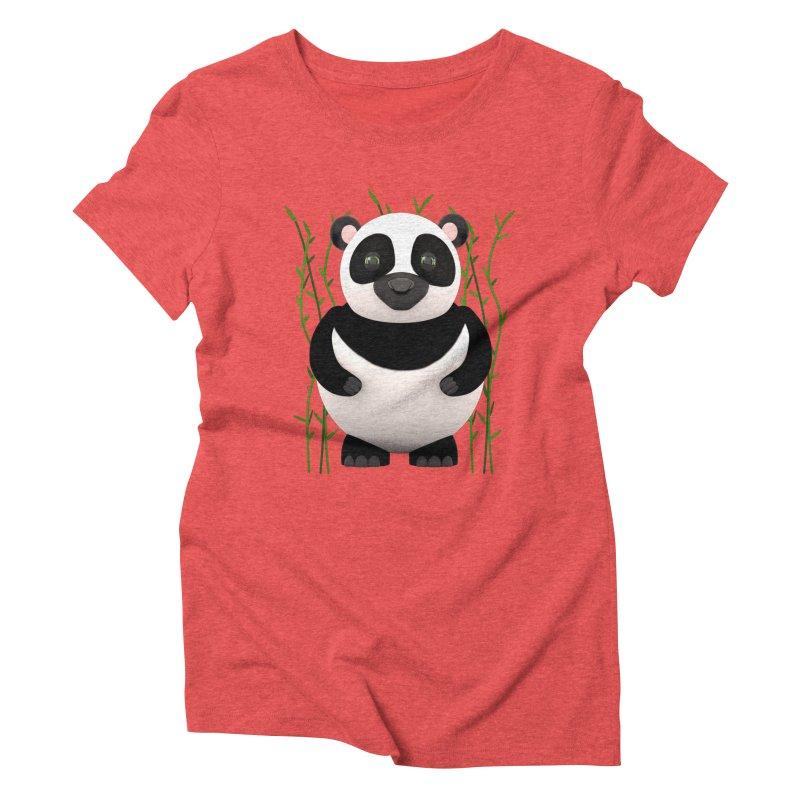 Cartoon Panda Among Bamboos Women's Triblend T-shirt by Me&My3D