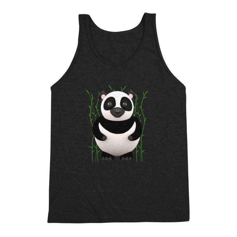 Cartoon Panda Among Bamboos Men's Triblend Tank by Me&My3D