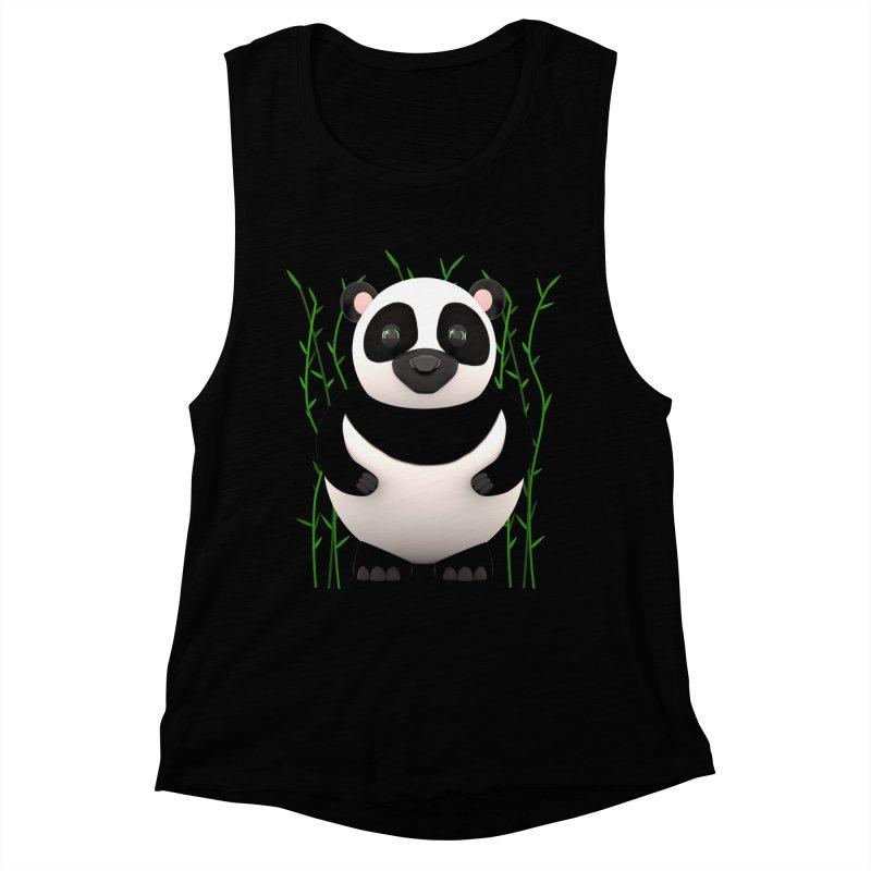 Cartoon Panda Among Bamboos Women's Muscle Tank by Me&My3D