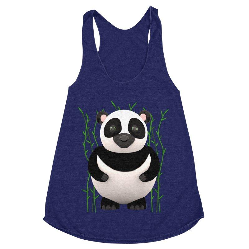 Cartoon Panda Among Bamboos Women's Racerback Triblend Tank by Me&My3D