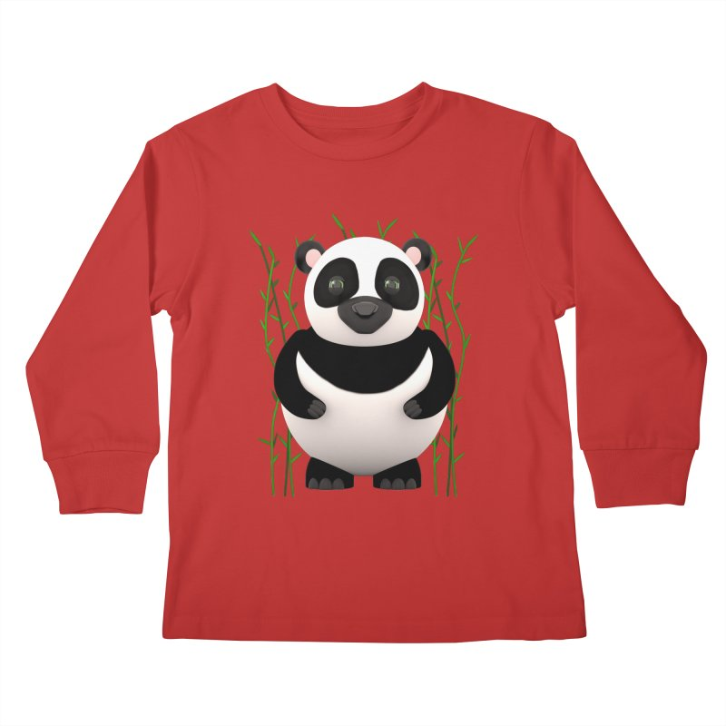 Cartoon Panda Among Bamboos Kids Longsleeve T-Shirt by Me&My3D