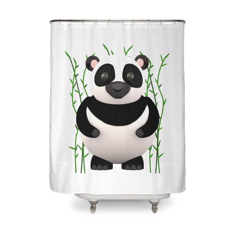 Cartoon Panda Among Bamboos Home Shower Curtain by Me&My3D