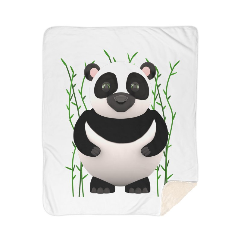 Cartoon Panda Among Bamboos Home Sherpa Blanket Blanket by Me&My3D