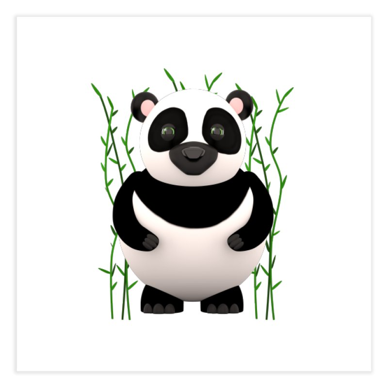 Cartoon Panda Among Bamboos Home Fine Art Print by Me&My3D