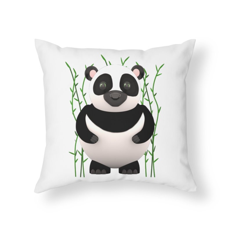 Cartoon Panda Among Bamboos Home Throw Pillow by Me&My3D