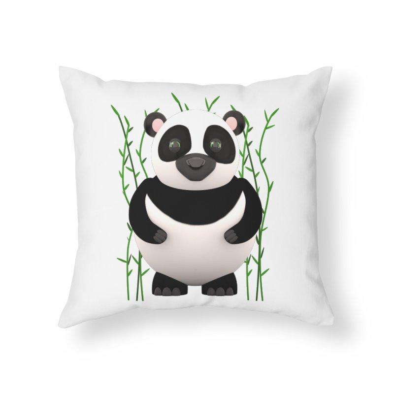 Cartoon Panda Among Bamboos Home Throw Pillow by Me&My3D