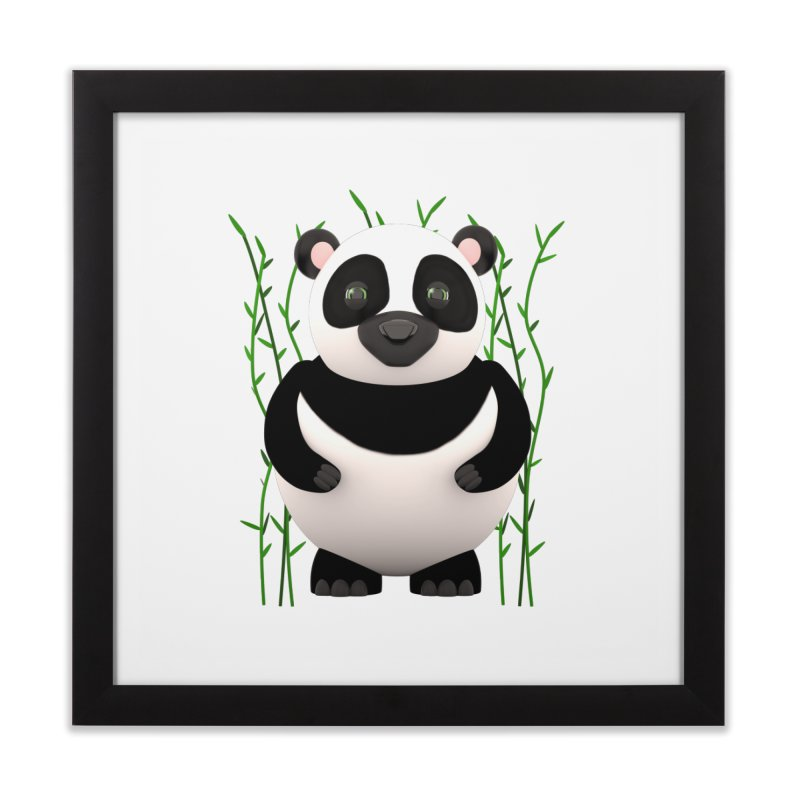 Cartoon Panda Among Bamboos Home Framed Fine Art Print by Me&My3D