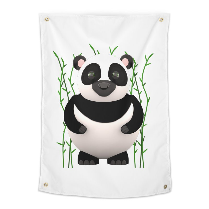 Cartoon Panda Among Bamboos Home Tapestry by Me&My3D