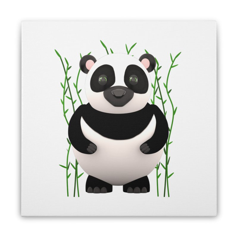 Cartoon Panda Among Bamboos Home Stretched Canvas by Me&My3D