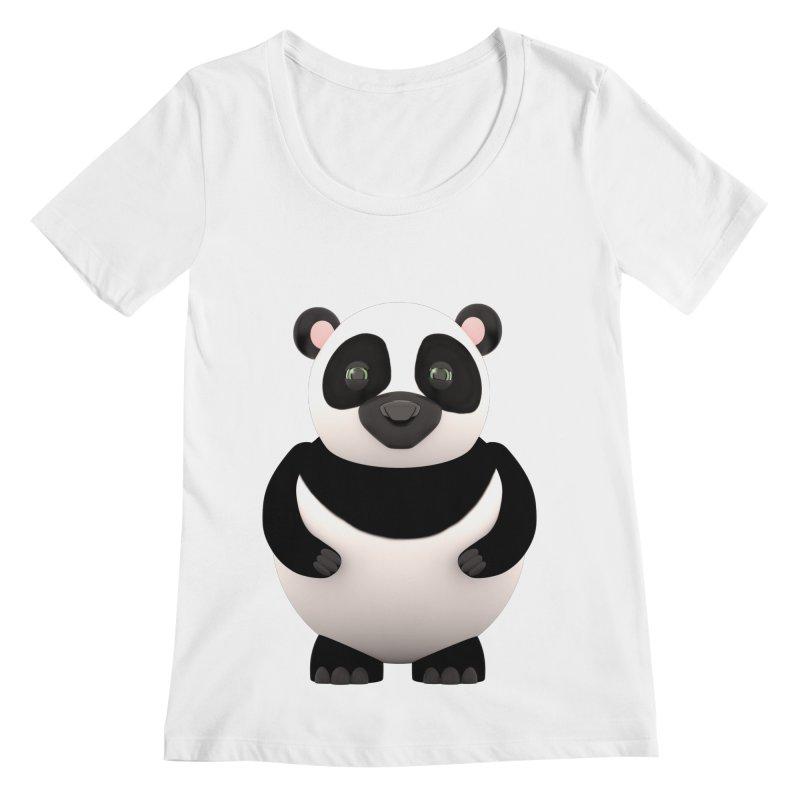Cartoon Panda Women's Regular Scoop Neck by Me&My3D
