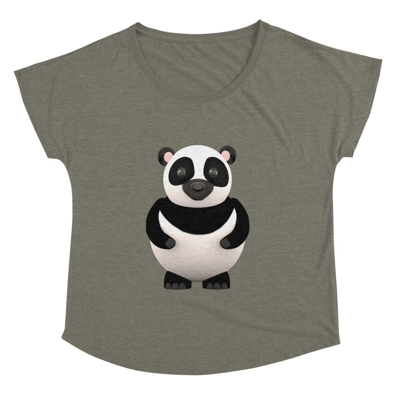 Cartoon Panda Women's Dolman Scoop Neck by Me&My3D