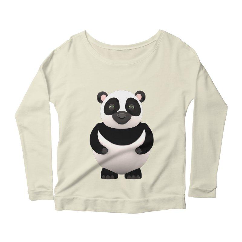 Cartoon Panda Women's Longsleeve Scoopneck  by Me&My3D