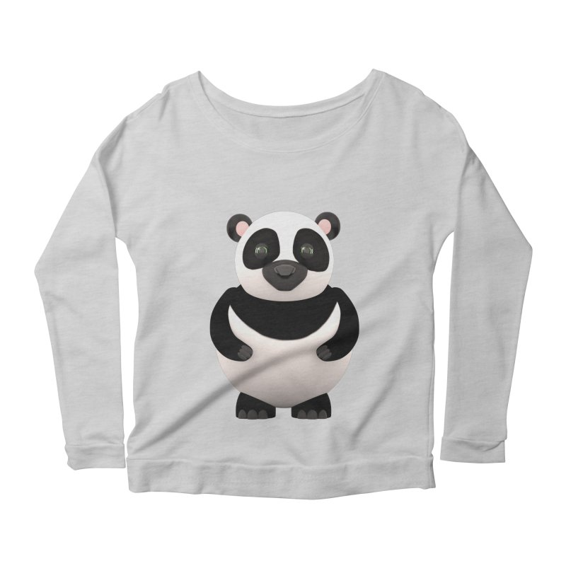 Cartoon Panda Women's Scoop Neck Longsleeve T-Shirt by Me&My3D