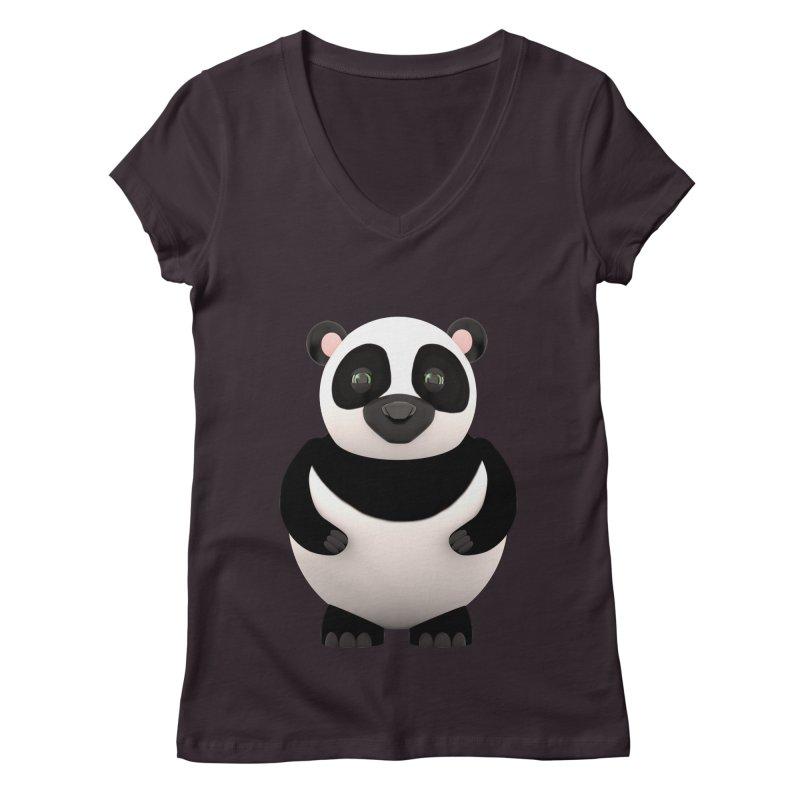 Cartoon Panda Women's Regular V-Neck by Me&My3D