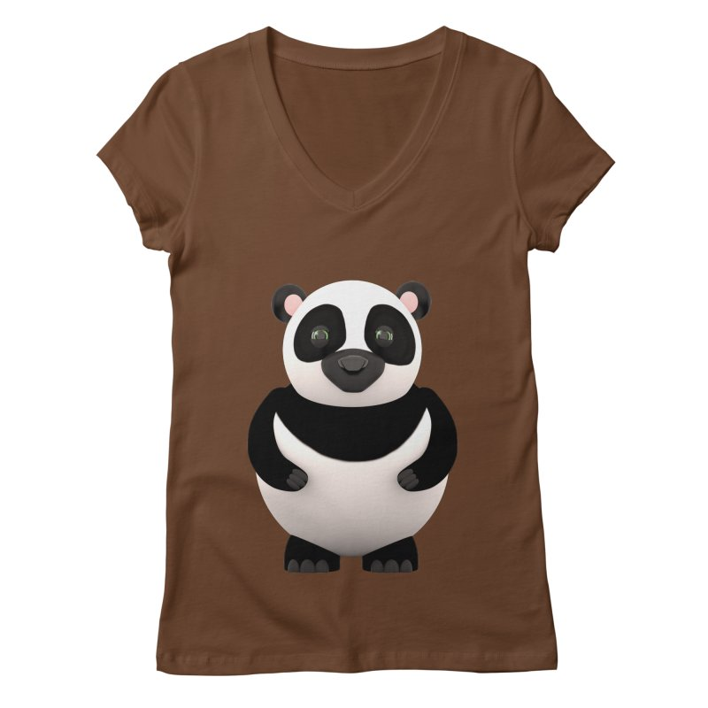 Cartoon Panda Women's Regular V-Neck by Me&My3D