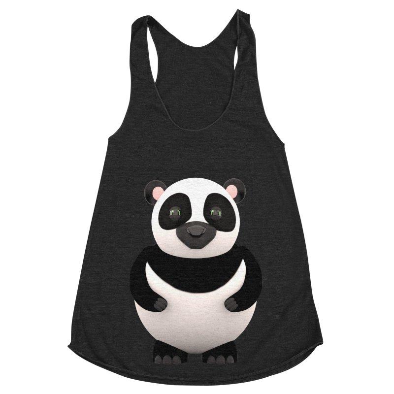 Cartoon Panda Women's Racerback Triblend Tank by Me&My3D