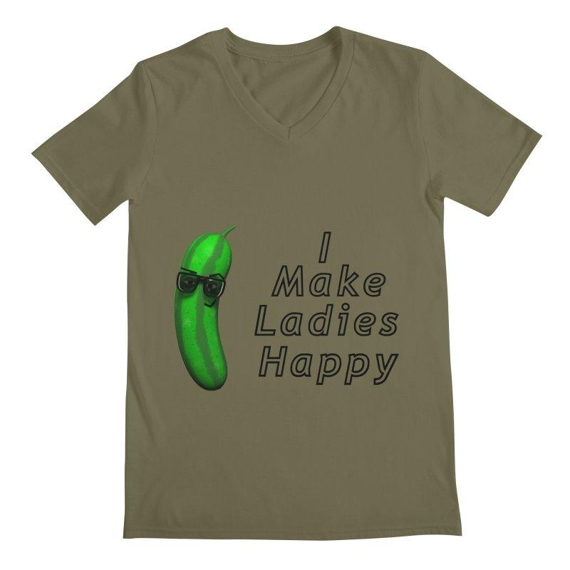 Mr. Pickle makes ladies Happy Men's V-Neck by Me&My3D