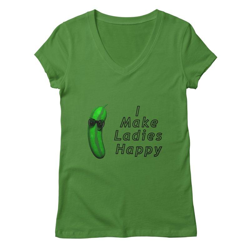 Mr. Pickle makes ladies Happy Women's Regular V-Neck by Me&My3D