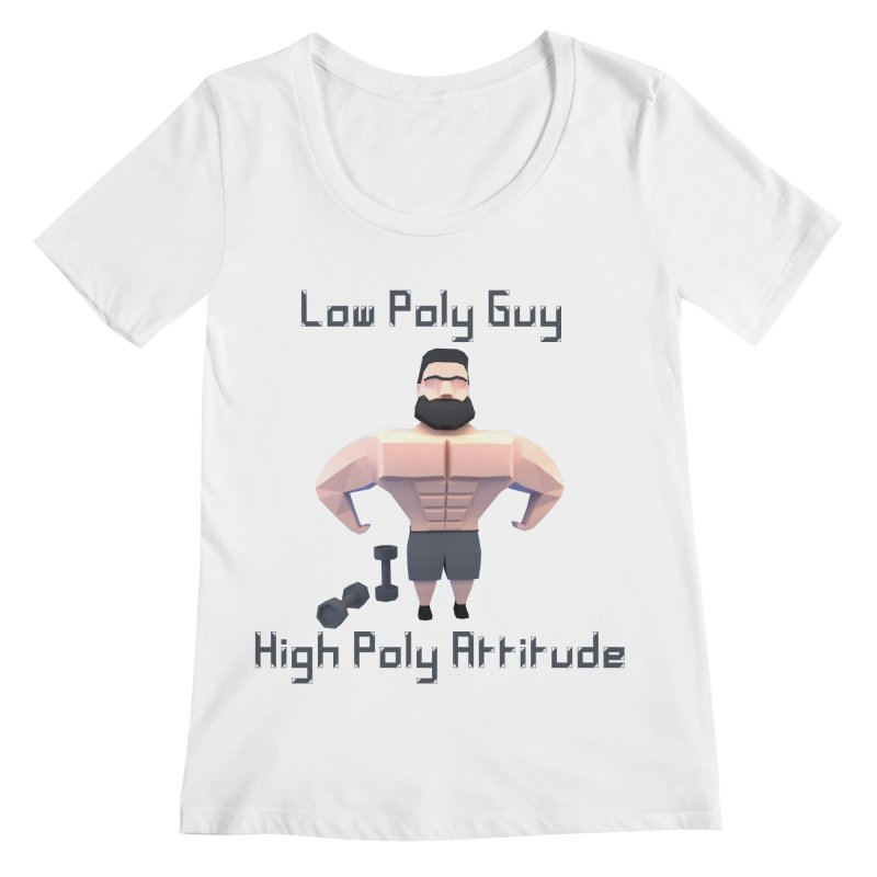 Low Poly Guy with High Poly Attitude Women's Regular Scoop Neck by Me&My3D