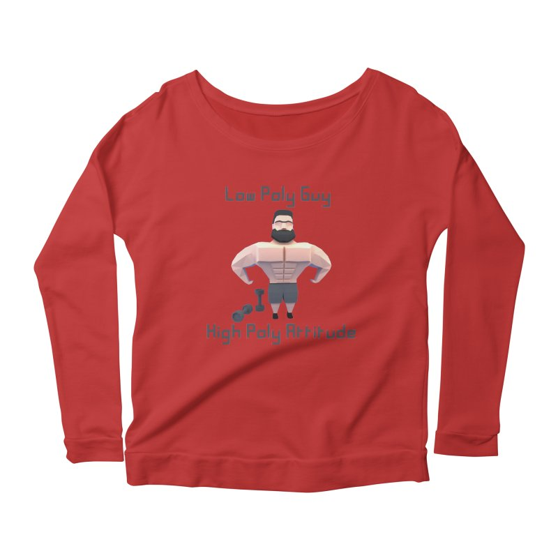 Low Poly Guy with High Poly Attitude Women's Scoop Neck Longsleeve T-Shirt by Me&My3D