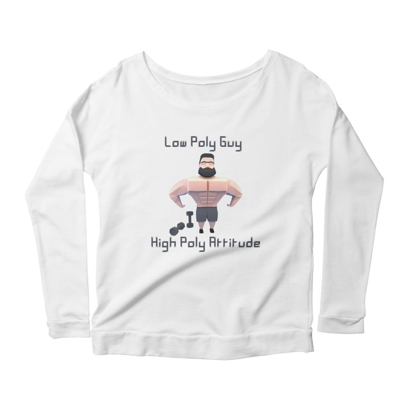 Low Poly Guy with High Poly Attitude Women's Longsleeve Scoopneck  by Me&My3D