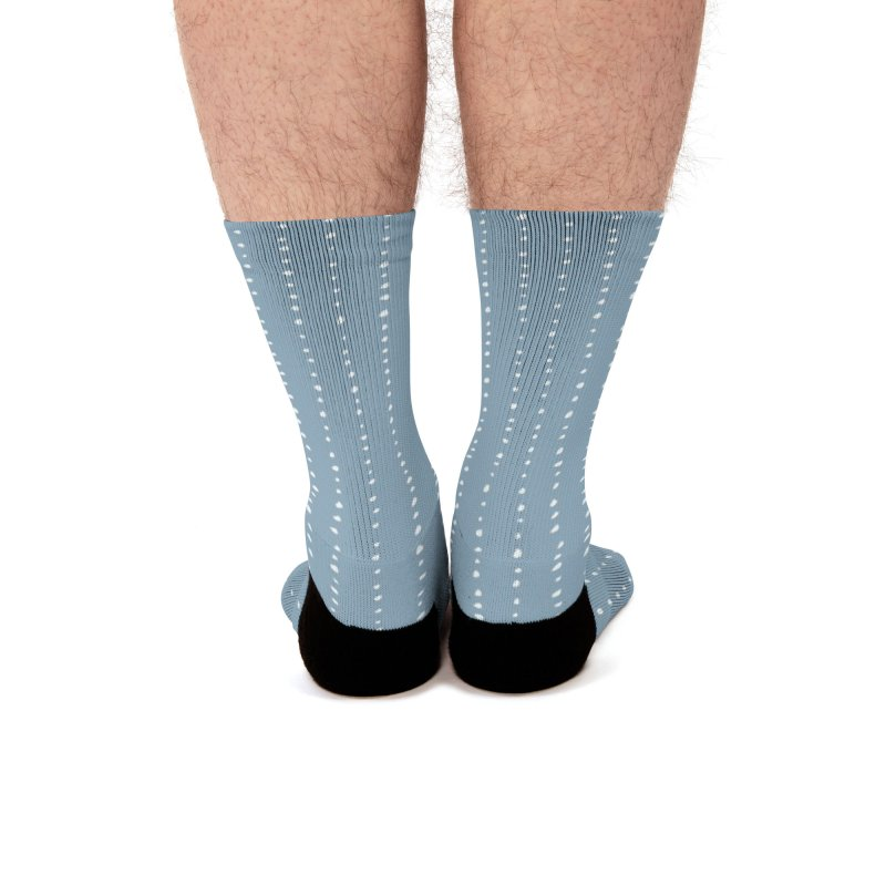 Dotted Lines White On Soft Blue Men's Socks by Me And The Moon Artist Shop