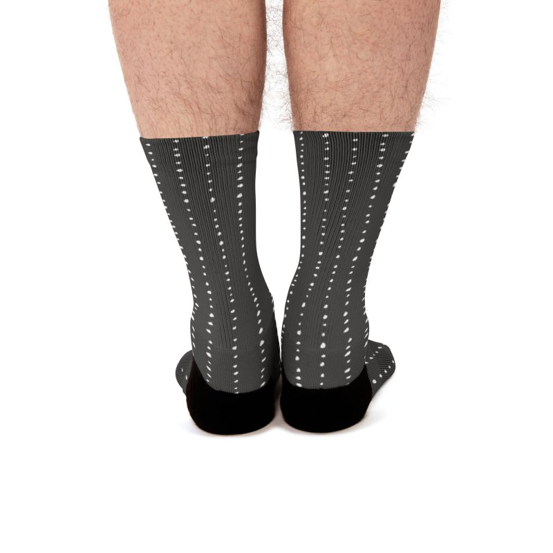 Dotted Lines White On Dark Grey Men's Socks by Me And The Moon Artist Shop
